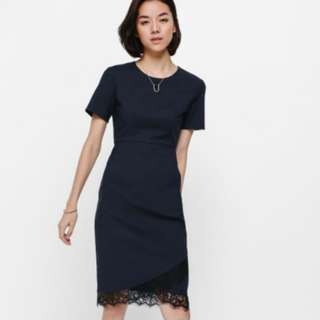 Love bonito lyndle lace trim midi dress in navy blue size xs