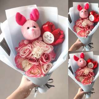*PROMO Piglet soap rose bouquet
