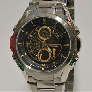 Casio - WEF-116WC - Edifice, FIFA World Cup 2006 Germany Series 世界杯 特別版 絕版 全鋼帶及錶盤 黑色錶面 金色字 WEF116 EFA116 watch (請留意下面Information)
