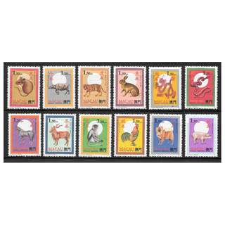 Macau Zodiac Stamp Series Complete (1984-1995) MNH