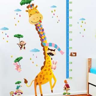 Cartoon Animals Height Measurement Kids Growth Chart Wall Decal - Giraffe