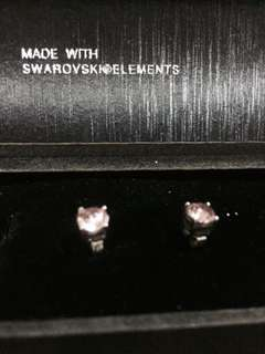 Swarovski element pink stainless earrings