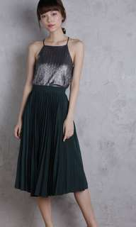 The Tinsel Rack Courtney Pleated Midi Skirt in Forest