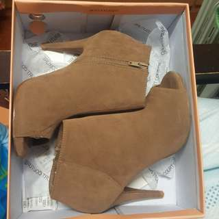 Taupe Suede Open-Toe Boots