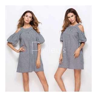 Cold-shoulder Gingham Dress