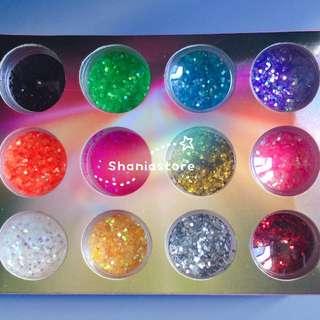12 Color Tiny Shinny Flake Nail Art Decoration Tips Kit Set