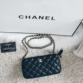 Chanel Classic Double Zipper Clutch Chain Bag