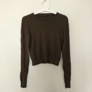 Bershka Khaki Crop Sweater Top