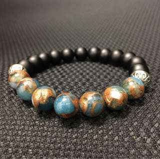 Frosted onyx with brecciated jasper bracelet.