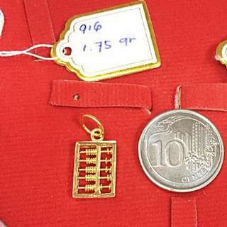 916 Gold Abacus Pendant