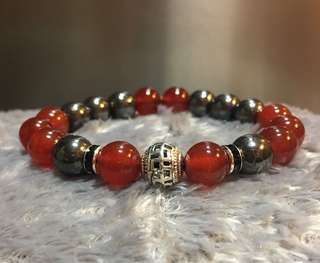Red agate with gun mental bracelet.