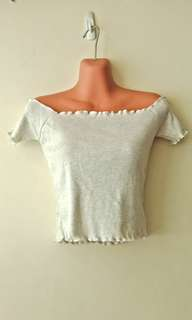 Scallop top off-shoulder