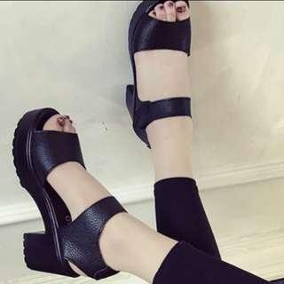 Black High Heeled Sandals