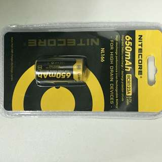 Nitecore RCR123A Rechargeable Battery 650mAh