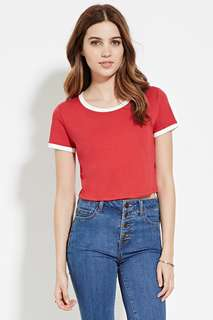 F21 red crop ringer tee