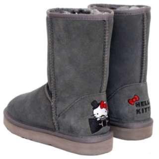 🚚 HELLO KITTY X Ann'S 俏皮達利真皮雪靴-灰40號