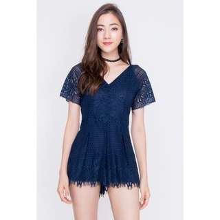 Sinclaire lace romper in navy
