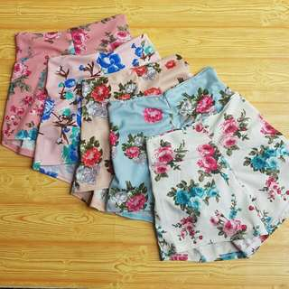 High Waist Shorts Floral Prints
