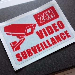 24hr Video Surveillance Security Guard Shop House 10cm x 7cm Sticker Decal