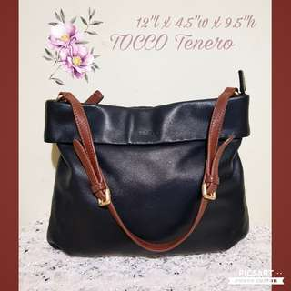TOCCO Tenero Genuine Leather Handbag. Good Quality, made to last. Shoulder-sling. Versatile, suits jeans or smart casual or office wear. Black colour, brown strap. Good & Clean Condition. $28 offer, sms 96337309.