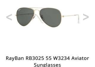 Ray-Ban Aviator Sunglasses RB3025 55mm W3234 (lightly worn once)