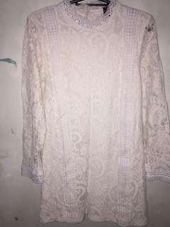 White laced bodycon dress