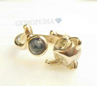 Silver 925 Ring with Cat's eye & Blue Sapphire