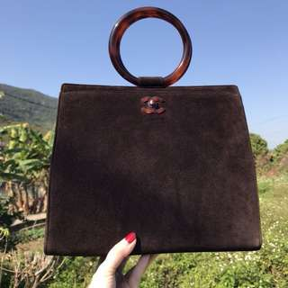 Chanel vintage 玳瑁麂皮手提袋