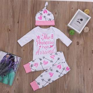 Infant Printed T-shirt + Pants + Hat Kids Outfit