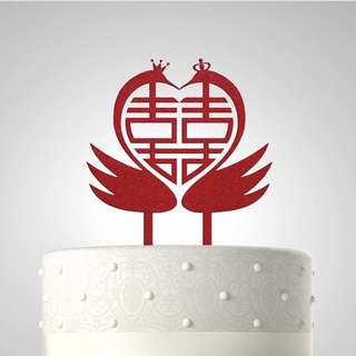 Personalized Red Wedding Acrylic Cake Topper