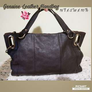 Genuine Dark Brown Textured Leather Handbag, Hand-carry or Shoulder-sling. Good Quality, made to last. Versatile, suits jeans or smart casual or office wear. fits A4 or laptop. Good & Clean Condition. $28 offer, sms 96337309.