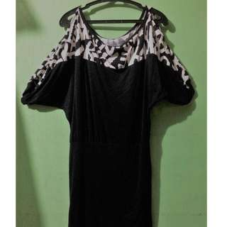 Black Mini Dresses with Off shoulder & See-through type