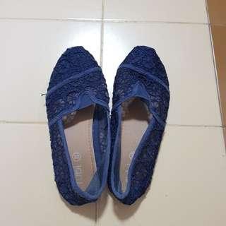 Rubi Blue lace slip on shoes