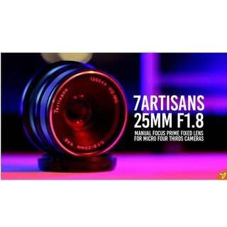 7artisans 25mm F1.8 for m4/3,Sony,ef-m,fuji