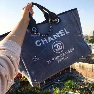 (SOLD)Chanel 灰藍色布面 2-way Tote Bag