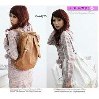 35×41×10cm Brown Japanese Style Backpack Shoulder Bag