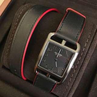 Hermes cape cod GM 29mm 啞黑色雙帶手錶