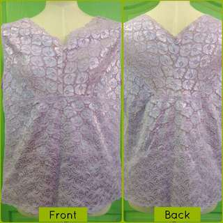 New Charming Lavender High Quality Floral Lace Camisole Top Size Large