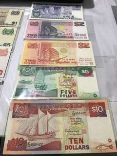 Set of Singapore Ship Series Banknotes