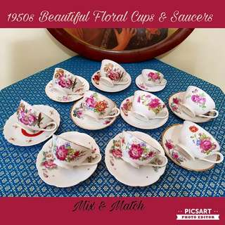 1970-60s Pretty Floral Teacups and Saucers, mix and match or closely matched. All are regular size except 1 cup and 1 saucer. Good & Clean Condition. 10 cups + 10 saucers (20 items) for $38 Clearance offer. Great for cafes or home use, sms 96337309.