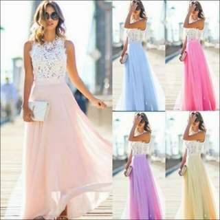 Chiffon Long Dress Gown with a Long Dress Sexy Summer Lace