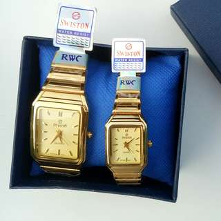 Swiston Gold Couple Watch  for Men and Women