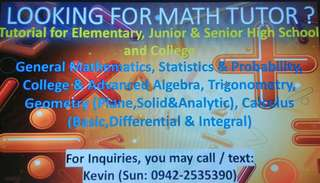 Math Tutor (For Grades 1 to 12 and College)