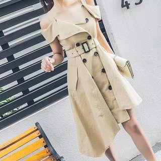 BN Khaki Coat Dress off shoulder