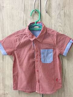 Boys Shirt Red with white stripes