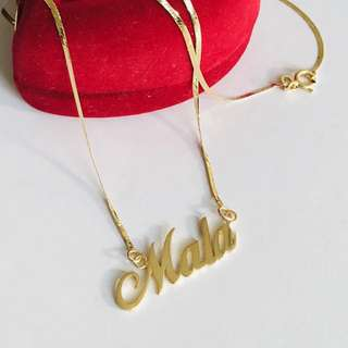 """18K 750 Personalized Name Plate Necklace 16"""", 18"""" Genuine Gold"""