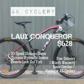 "MTB 27.5"" LAUX Conqueror 30 Speed Shimano Deore Hydraulic Disc Brakes Remote Lock Out Fork"