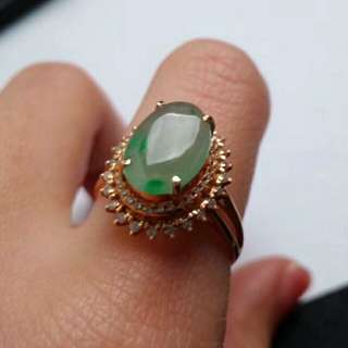 🎋18K Gold - Grade A Icy Green Oval Cabochon Jadeite Jade Ring🎋