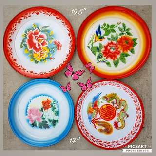 1960-70s Colourful Enamel Trays or Plates with Beautiful Hand-Painted Designs. Each $10 (left-side) or $20 (right-side) or all 4pcs for $40 offer. sms 96337309.