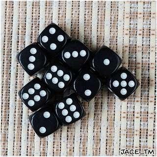 10PCS D6 DICE SET (12mm) - BLACK